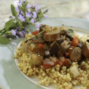 Summer Sausage, Sage, and Eggplant Garden Stew