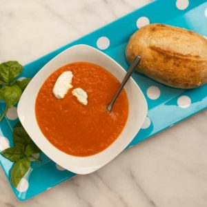 Tomato Soup with Basil and Goat Cheese