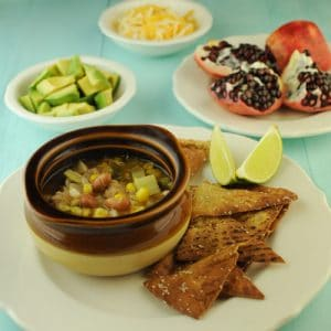 Vegetarian Sopa Poblano with Avocados