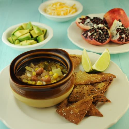 Vegetarian Sopa Poblano with Avocados