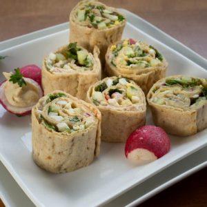 Warm Garlic Hummus Flatbread Rollups
