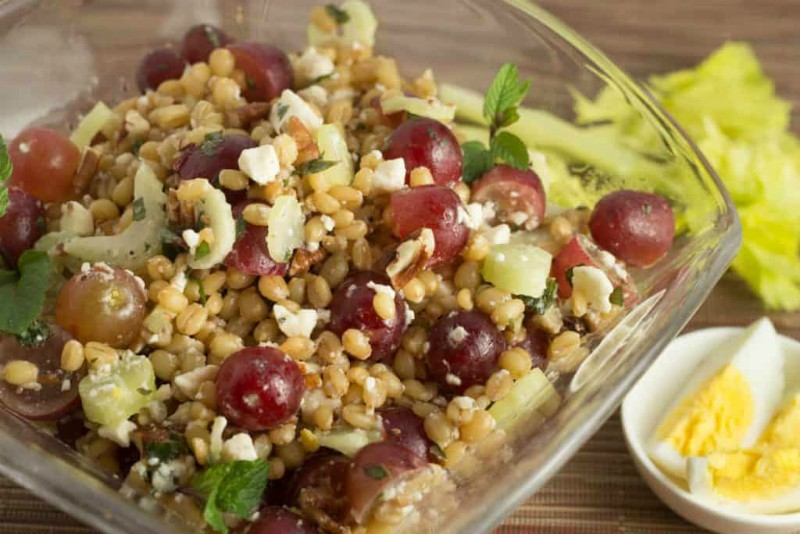 Wheat Berry Salad with Grapes and Feta