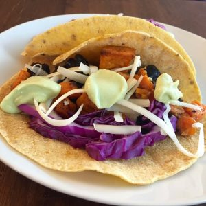 Black Bean and Sweet Potato Tacos with Avocado Crema