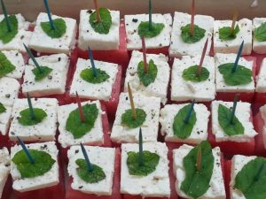 Watermelon Feta and Mint Cubes