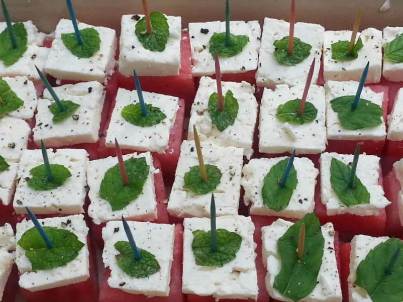 Watermelon Feta and Mint Cubes