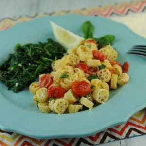 Creamy wagon Wheel Noodles with Cherry Tomatoes
