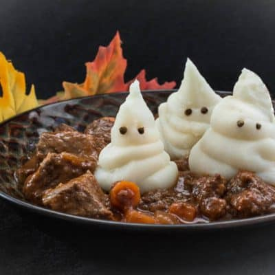 Ghostly Beef Stew Dinner Recipe for Halloween