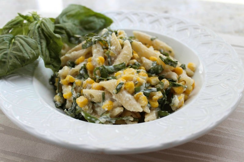Penne Rigate with Sweet Corn, Ricotta, and Basil