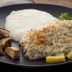 Baked Fish with Lemon Aioli Panko Coating