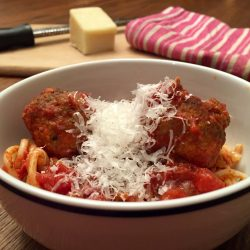Spaghetti with Saucy Slow Cooker Turkey Meatballs