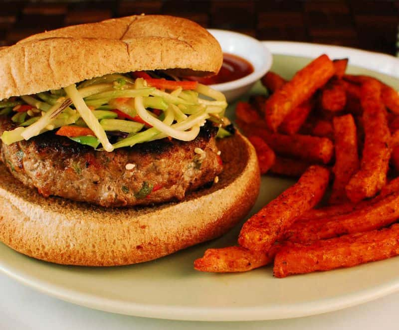 Asian Turkey Burgers with Sweet Potato Fries
