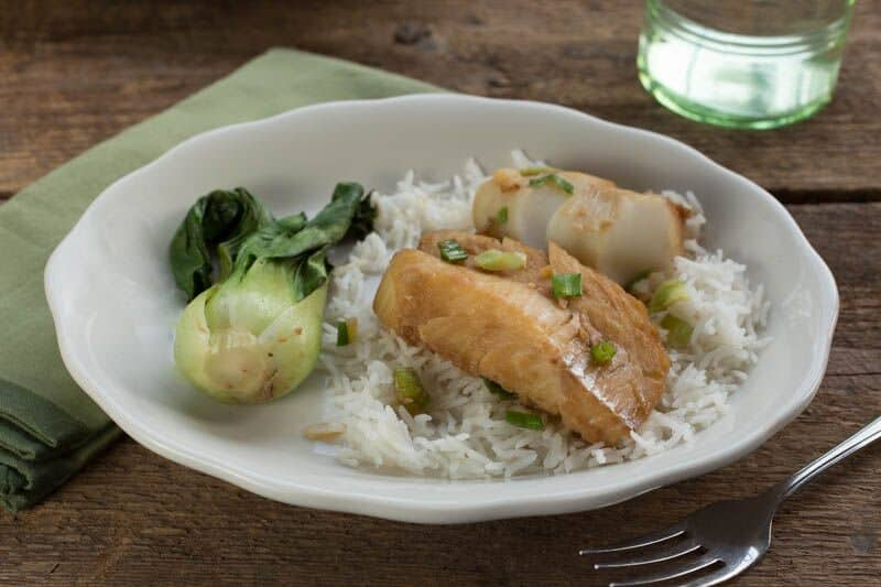 Chinese Steamed Fish with Ginger-Garlic Sauce