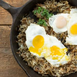 Crispy Hash Browns with Sunny Side Up Eggs