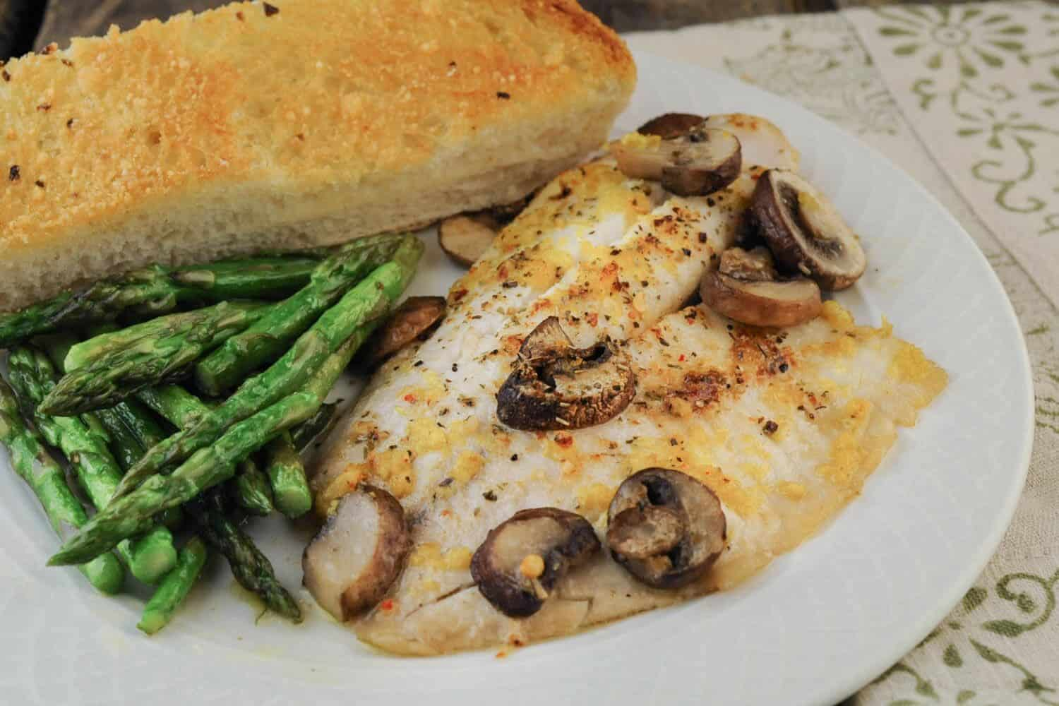 Baked Fish with Mushrooms and Italian Herbs
