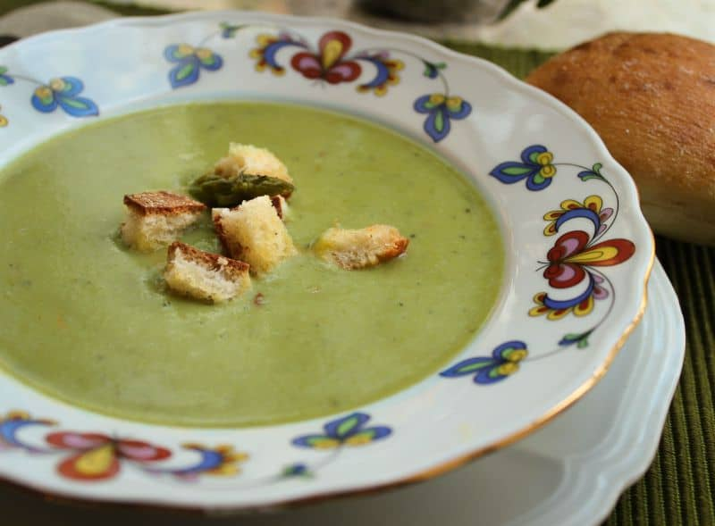 Cream of Asparagus and Potato Soup with Fresh Croutons