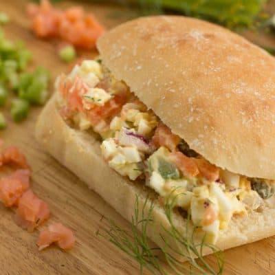Danish Egg Salad Sandwiches with Smoked Salmon