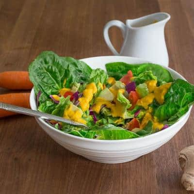 Green Salad with Japanese Carrot Ginger Dressing