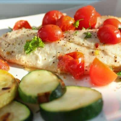 Lime-Butter Sole with Grape Tomatoes