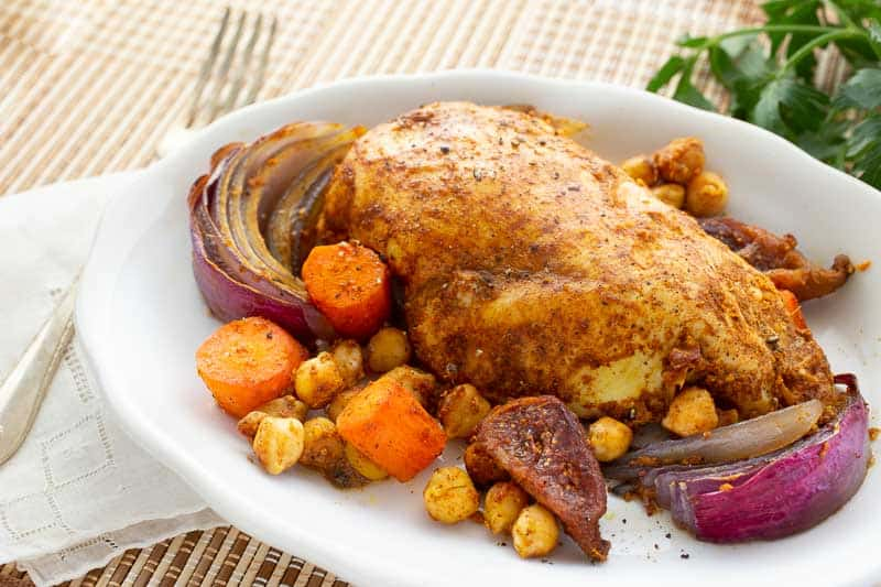 Moroccan Sheet Pan Chicken with Chickpeas and Vegetables