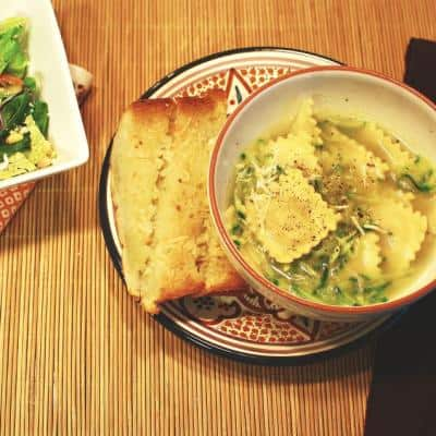 Ravioli Soup with Grated Zucchini