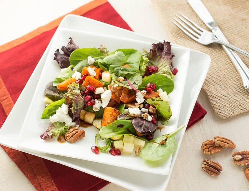 Roasted Butternut Squash, Pomegranate, Apple and Goat Cheese Salad