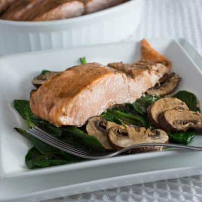 Roasted Salmon with Mushrooms and Spinach