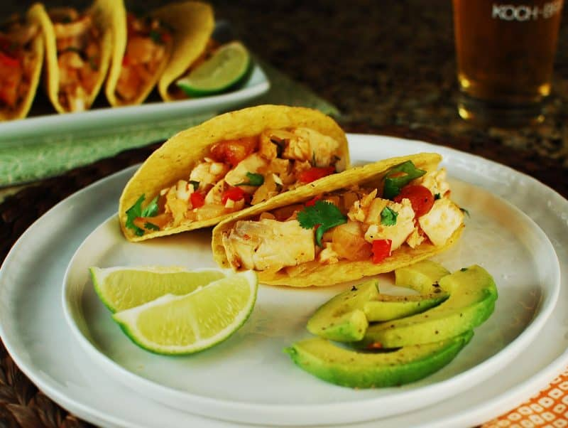 Tacos del Mar (Fish Tacos) with lime and avocado condiments