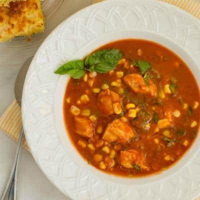 Tomato, Basil, and Corn Soup