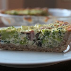 Whole Wheat Broccoli, Mushroom, and Cheese Quiche