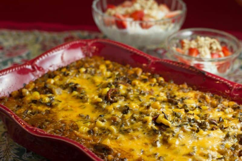 Wild Rice and Chili-Corn Casserole perfect for a family dinner share