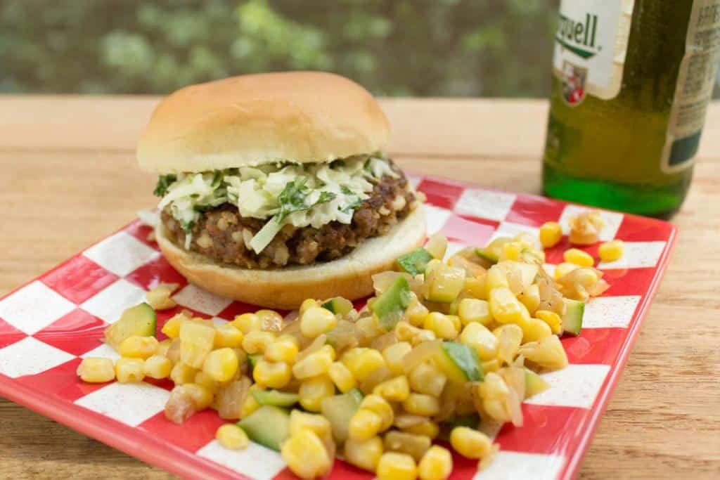 Zesty Southwestern Burgers with Cilantro Slaw