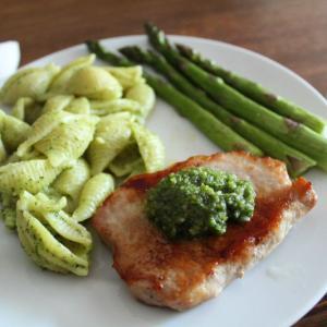 Boneless Pork Cutlets with Arugula Pesto