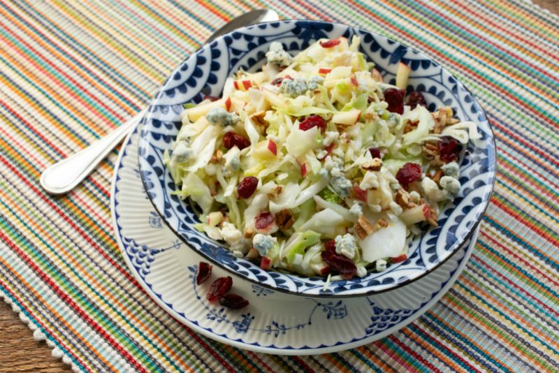 Apple, Cabbage, and Gorgonzola Slaw