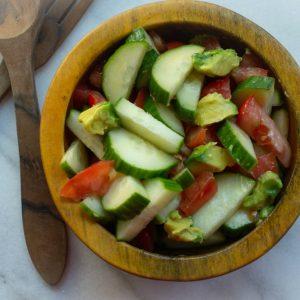 Avocado Cucumber and Tomato Salad