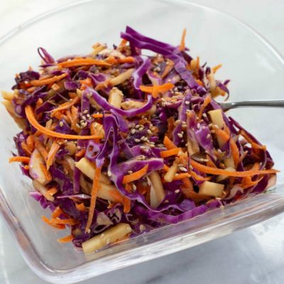 Carrot, Cabbage and Apple Slaw with Soy-Tahini-Lime Dressing