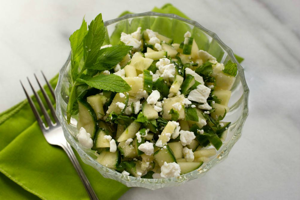 Cucumber Salad with Honey and Feta Cheese