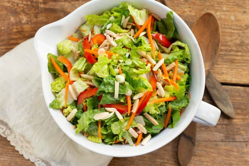 Green Salad with Red Bell Peppers, Toasted Almonds, Shredded Carrots, and Ginger Dressing