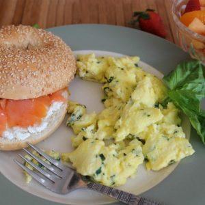 Fluffy Scrambled Eggs with Basil