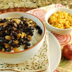 Orange Cumin Black Beans Over Rice