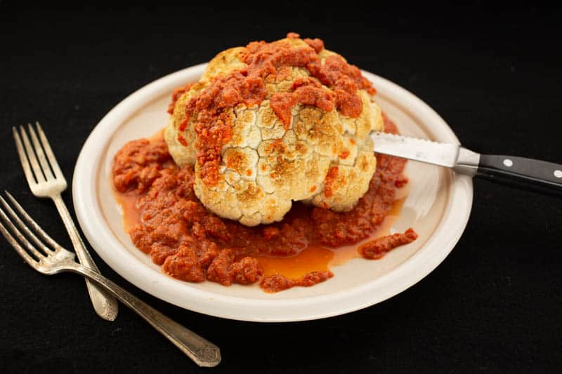 Blood and Brains (Cauliflower with Romesco Sauce)