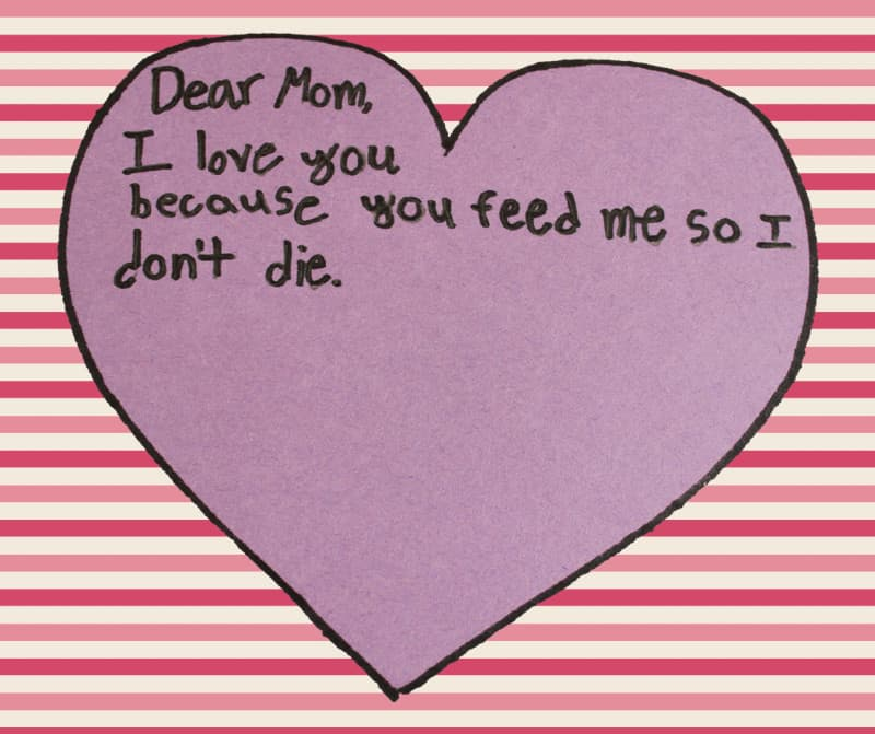 Love note to mom